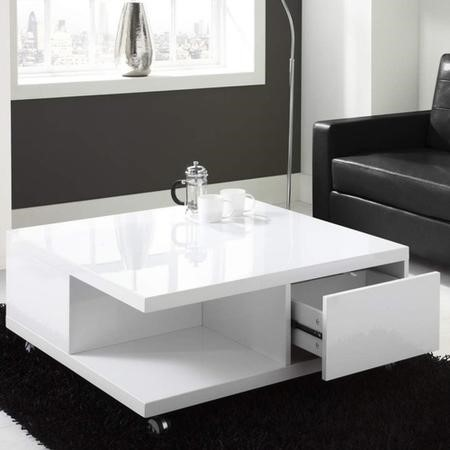Grade A1 White High Gloss Coffee Table With Storage