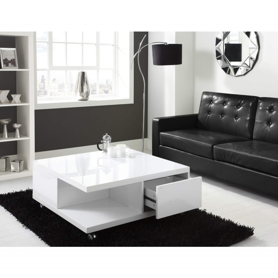 Tiffany white high gloss square storage coffee table - How high is a coffee table ...