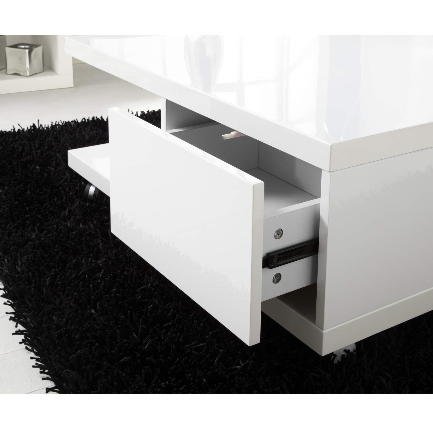Tiffany White High Gloss Square Storage Coffee Table Furniture123