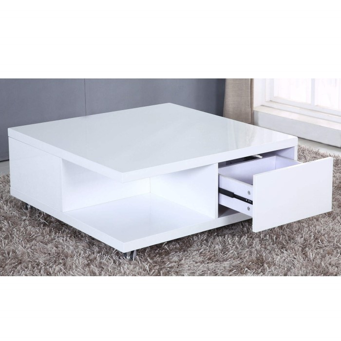Elisa Coffee Table Square In High Gloss White With Storage: Tiffany White High Gloss Square Storage Coffee Table