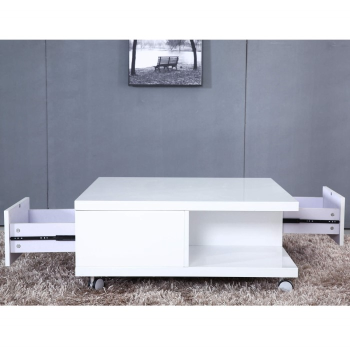 Tiffany White High Gloss Square Coffee Table Furniture