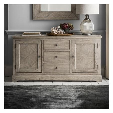 Mustique 2 Door 3 Drawer Solid Wood Chevron Sideboard
