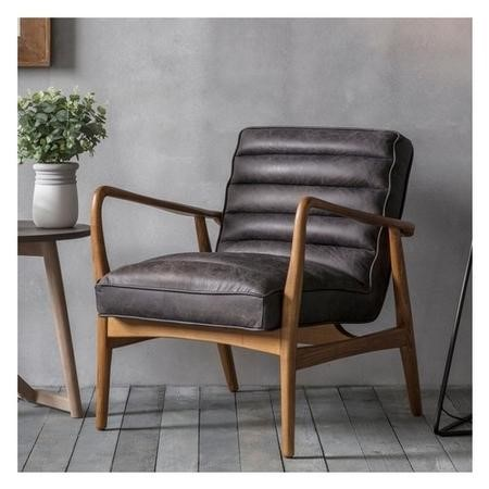 Datsun Leather Armchair in Black with Wooden Frame
