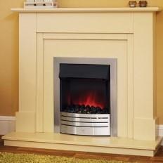 1dec2b5f219 Suncrest Herrington Electric Fireplace Suite in Sandstone with Chrome Insert