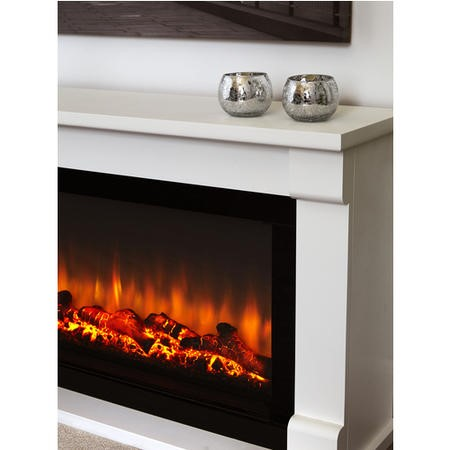 Suncrest Bradbury Electric Low Level Fireplace Suite in White with Wide Screen Fire