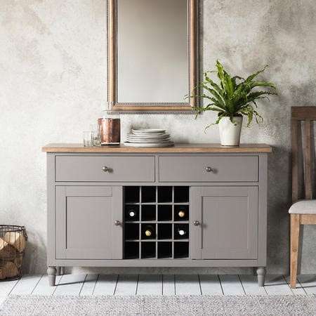 Large Grey Painted Sideboard with Wine Rack & Storage - Caspian House