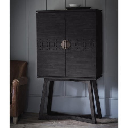 Boho Boutique Style Black Solid Wood Drinks Display Cabinet