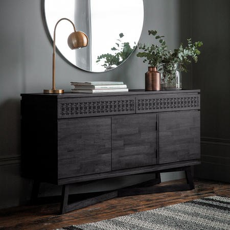 Gallery Boho Boutique Solid Dark Wood 2 Drawer 3 Door Sideboard
