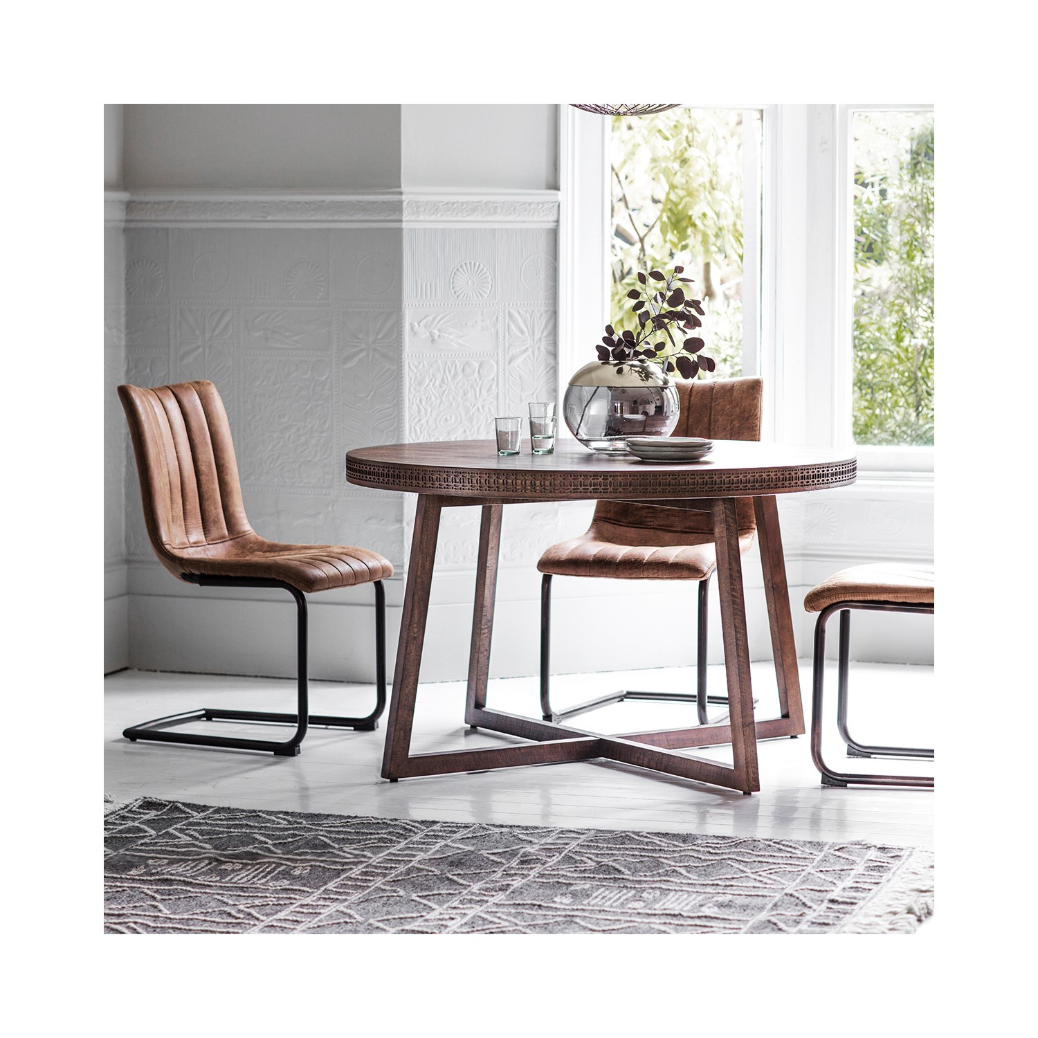 gallery boho retreat solid wood round dining table | furniture123