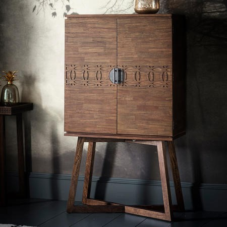 Boho Retreat Style Brown Solid Wood Drinks Display Cabinet