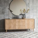 Gallery Milano Solid Oak Light Wood Chevron Style Sideboard with 2 Doors & 3 Drawers