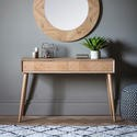 Gallery Milano Solid Light Wood Chevron Style Console Table with 2 Drawers