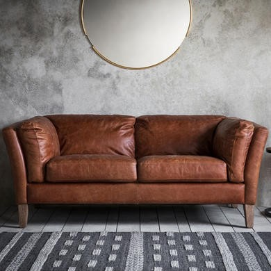 Gallery Vintage Brown Leather Sofa - Seats 2 - Ebury