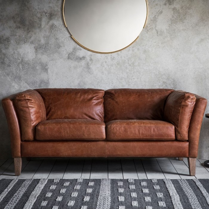 Gallery Vintage Brown Leather Sofa Seats 2 Ebury