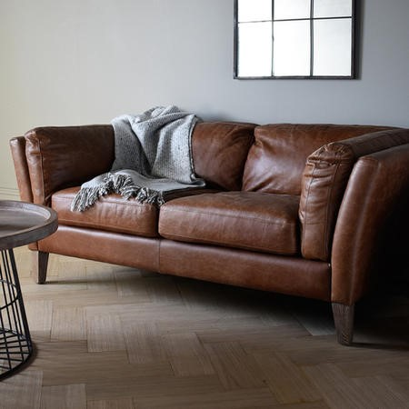 Gallery Ebury Vintage Brown Leather 2 Seater Sofa