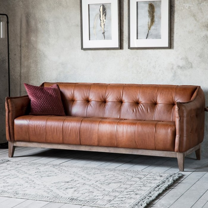 Gallery Ecclestone Brown 3 Seater Leather Sofa - Tufted Detailing ...