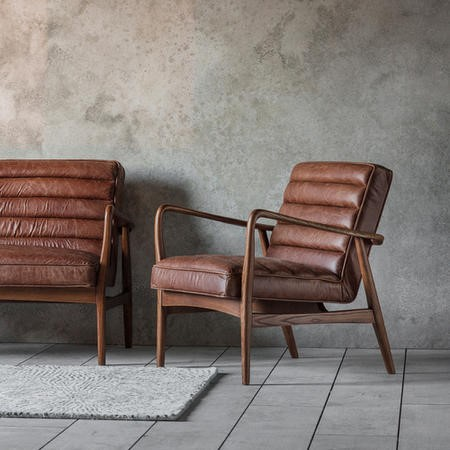 Gallery Mid-Century Leather Armchair in Brown - Datsun