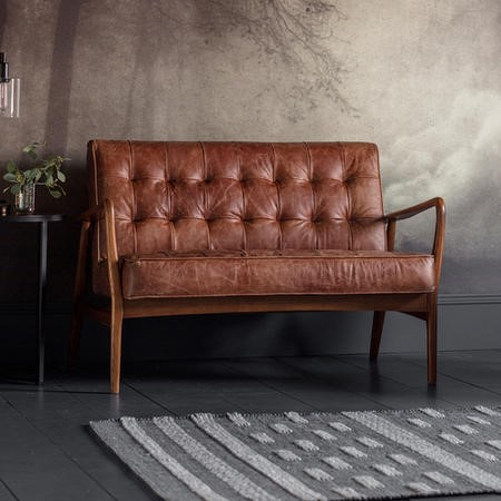 Gallery Humber Brown 2 Seater Leather Sofa - Tufted Detailing