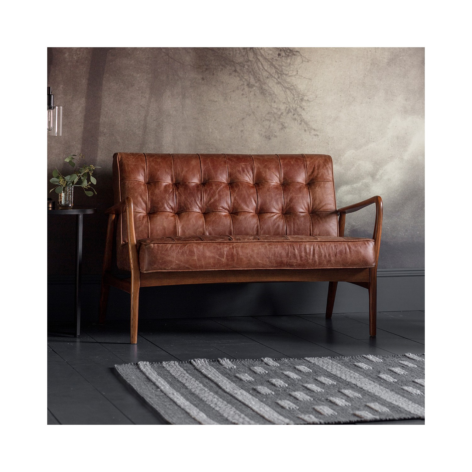 Gallery Humber Brown 2 Seater Leather Sofa   Tufted Detailing