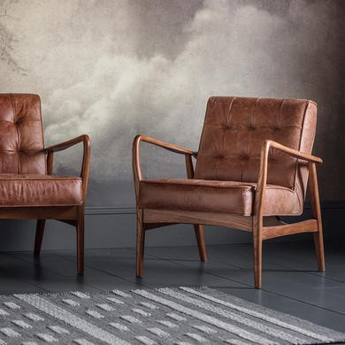 Gallery Mid- Century Buttoned Leather Armchair in Brown - Humber