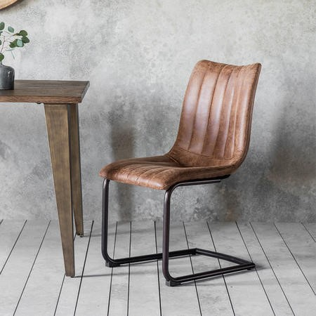 Gallery Edington Pair of Faux Leather Vintage Brown Dining Chairs