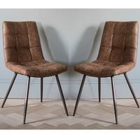 Gallery Darwin Faux Leather Vintage Tan Quilted Dining Chairs Set Of 2