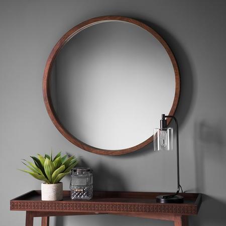 Boho Retreat Round Dark Wood Mirror Furniture123