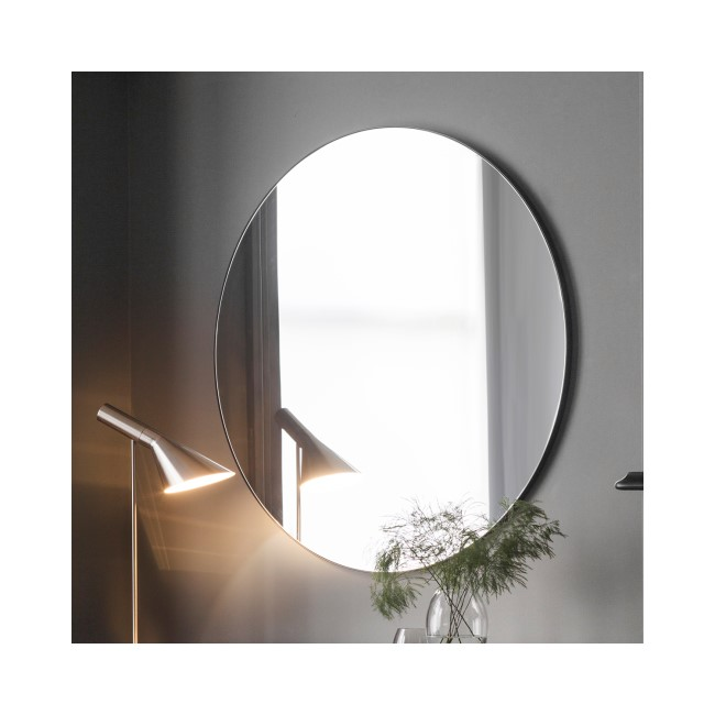 Round Mirror with Black Metal Edge