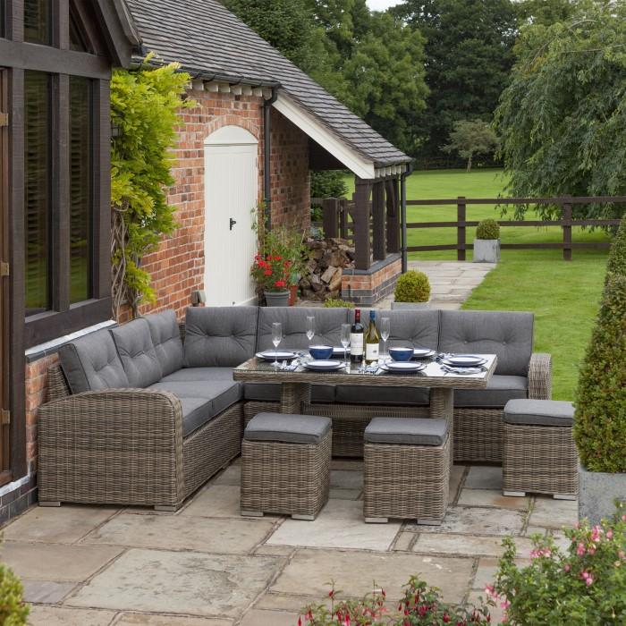 3352b31d67a9 Rowlinson Thornbury 6 Piece Grey Rattan Corner Dining Set | Furniture123