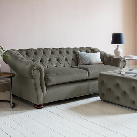 Gallery Hampton Chesterfield Sofa In Upholstery Fabric Dark Grey