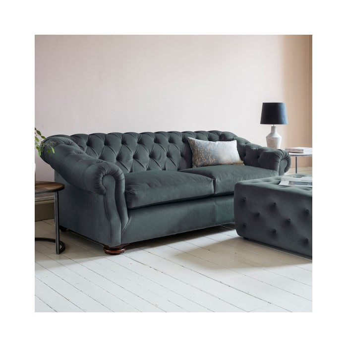 Gallery Hampton Chesterfield Sofa In Upholstery Fabric Steel Blue