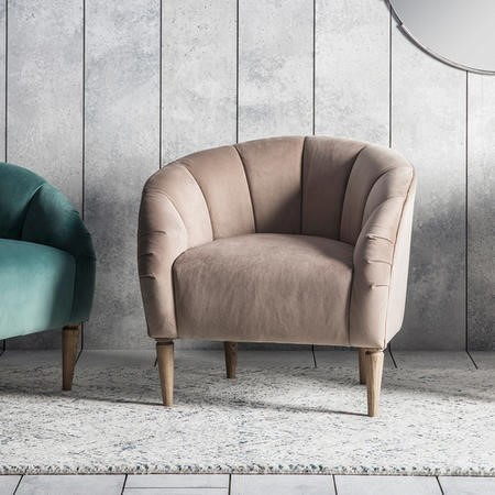 Gallery Tulip Armchair in Cream Velvet