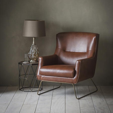 Gallery Camberley Lounge Chair Matt Brown Genuine Leather