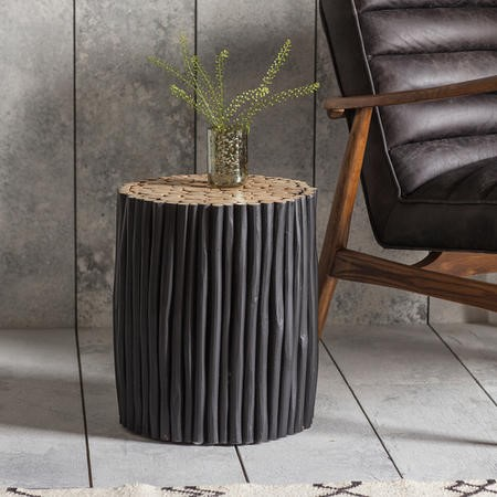 Gallery Denshaw Round Drum Style Wooden Side Table