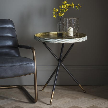 Gallery Epsom Tripod Tray Table in Black and Gold