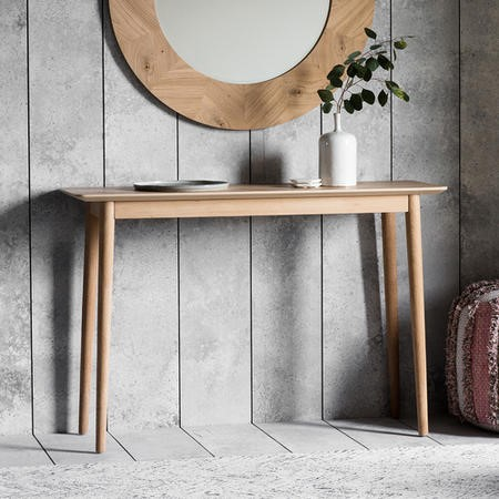 Gallery Milano Solid Oak Light Wood Chevron Style Console Table