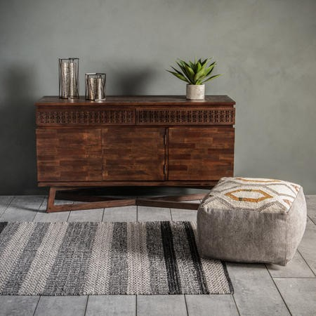 Woven Striped  Rug in Grey and cream - Gallery Utah