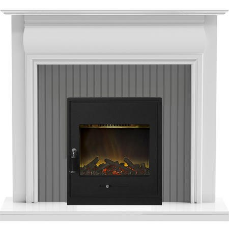 Adam Westminster Fireplace in White & Galaxy Grey with Oslo Electric Inset Stove in Black