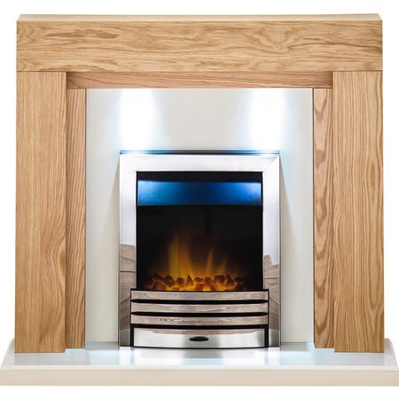 Adam Beaumont Fireplace Suite in Oak with Eclipse Electric Fire in Chrome