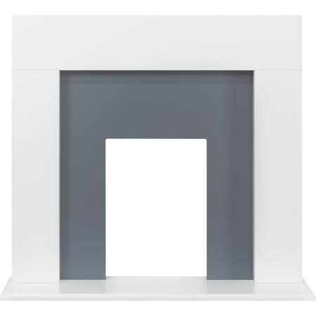 Adam Miami Fireplace in Pure White and Grey