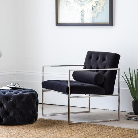 Gallery Armchair Dark Blue Velvet with Silver Metal Frame - Sergio Range