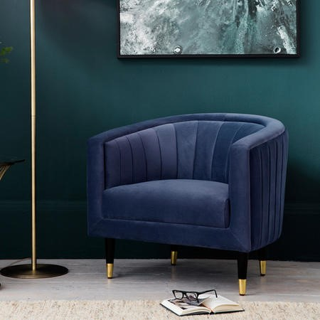 Gallery Armchair in Blue Velvet - Serrano Range