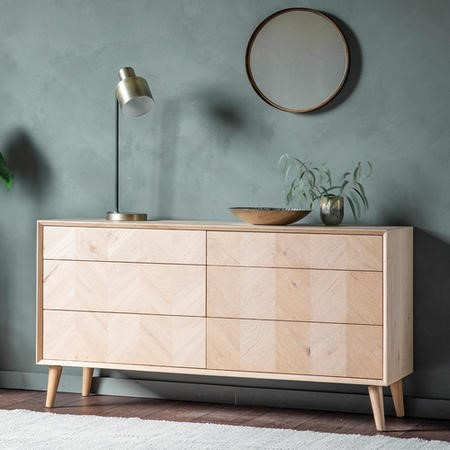 Gallery Milano Solid Oak Light Wood Chevron Style Sideboard with 6 Drawers