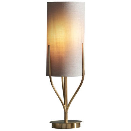 Romana Table Lamp in Brushed Brass with Linen Shade