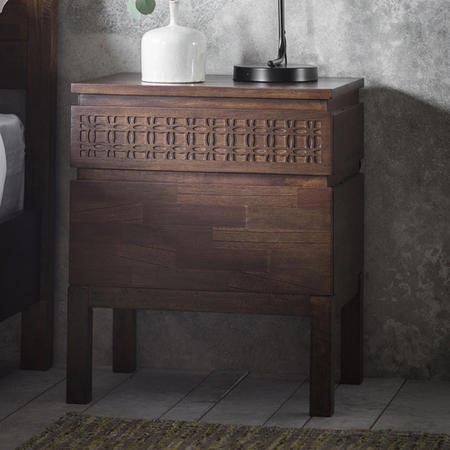 Caspian House Retreat Solid 2 Drawer Bedside Table