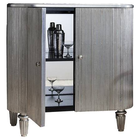 Gallery Jeeves Silver Drinks Cabinet with Black & Mirrored Interior and 2 Shelves