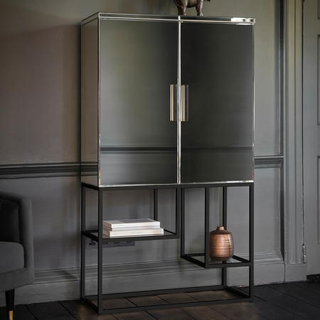 Caspian House Drinks Cabinet with Mirrored Black Finish - Pippard Range
