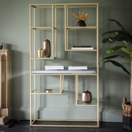 Gallery Pippard Mirrored Open Display Unit Champagne