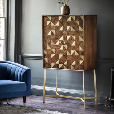Gallery Drinks Cabinet in Brown with Brass Finish - Tate Range