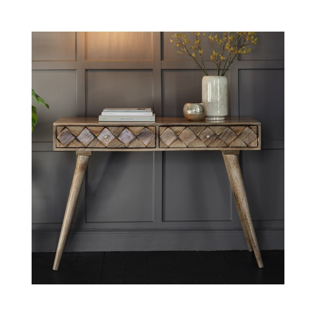 Gallery Solid Wood Console Table with Carved Detail - Tuscany Range